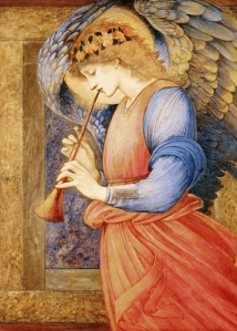 Edward-Burne-Jones-An-Angel-Playing-a-Flageolet