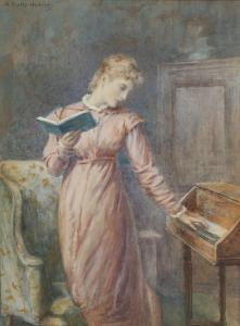 Arthur-Foord-Hughes-A-lady-reading-while-playing-the-spinet1