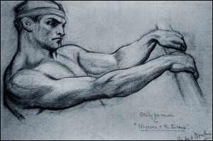 Herbert-James-Draper-Study-for-rower-in-Ulysses-and-the-Sirens